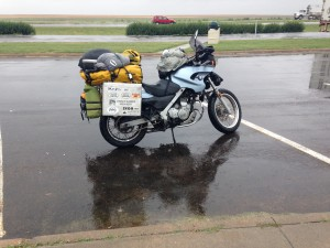 2002 BMW F650GS on I-70 in the rain